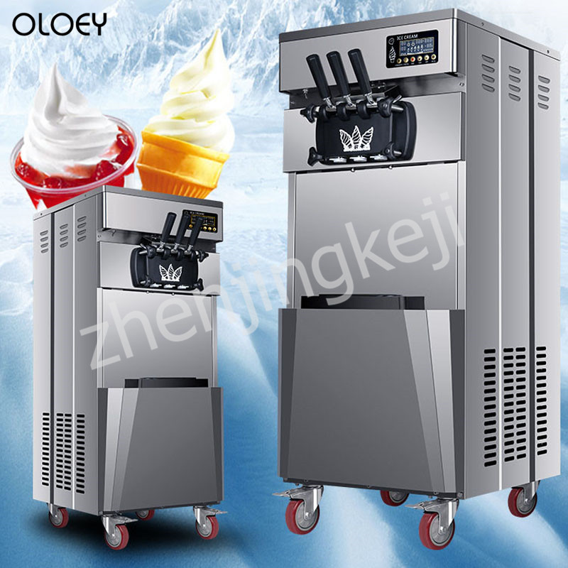 Commercial ice Cream Machine Vertical Soft ice Cream Machine Stainless Steel ice Cream Maker 220V/110V three flavors yield 20L/H|Ice Cream Makers| |  -