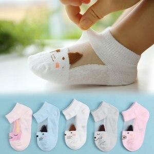 5 par letnie skarpetki bawełniane dla dzieci dla dziewcząt chłopców Cute Cat cukierki kolor krótkie skarpetki 2018 noworodka maluch skarpetki 1 -8 lat