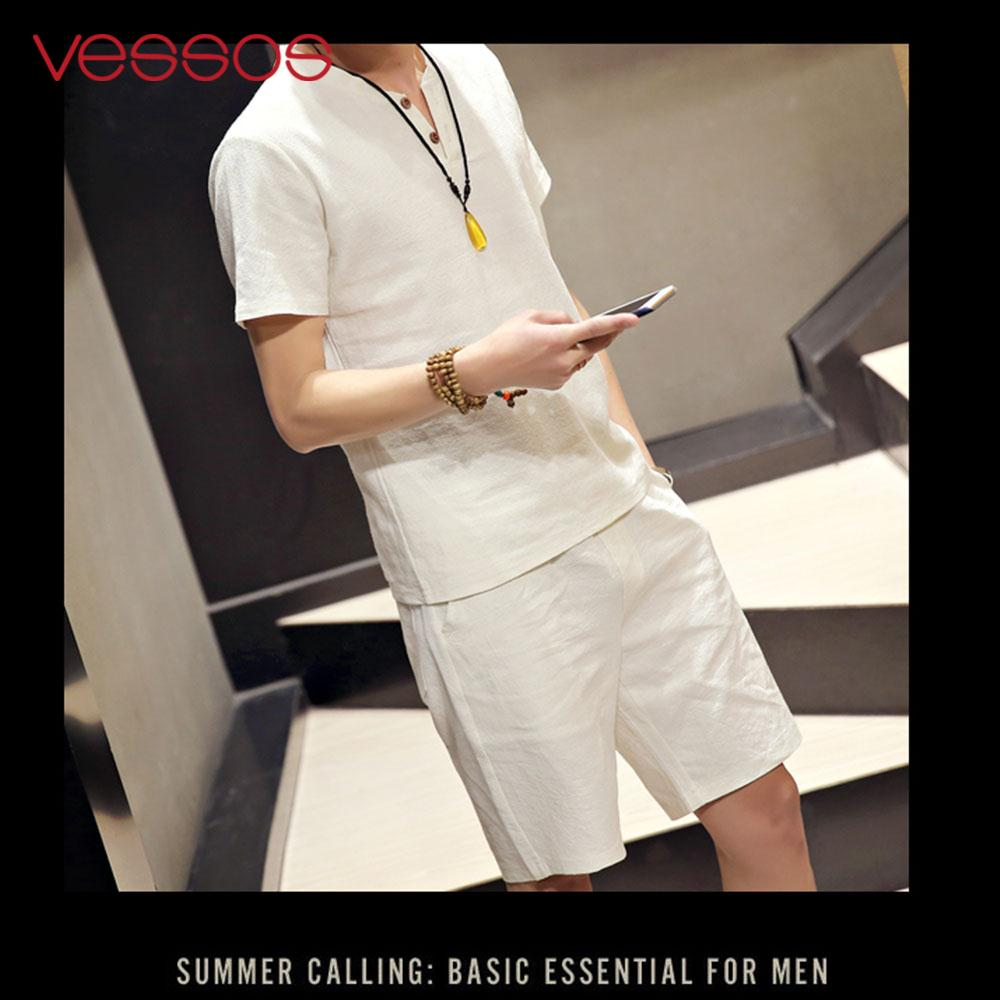 Vessos Outdoor Men T-Shirts Suits Short Sleeves Suits Comfortable Breathable Summer Men'S Summer Suits T-Shirts Cotton