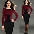 Novo 2015 Das Mulheres Do Vintage e Elegante Quadriculado Vermelho Colorblock Túnica Vestir Para Trabalhar Business Casual Partido Bodycon Lápis Emenda Vestido
