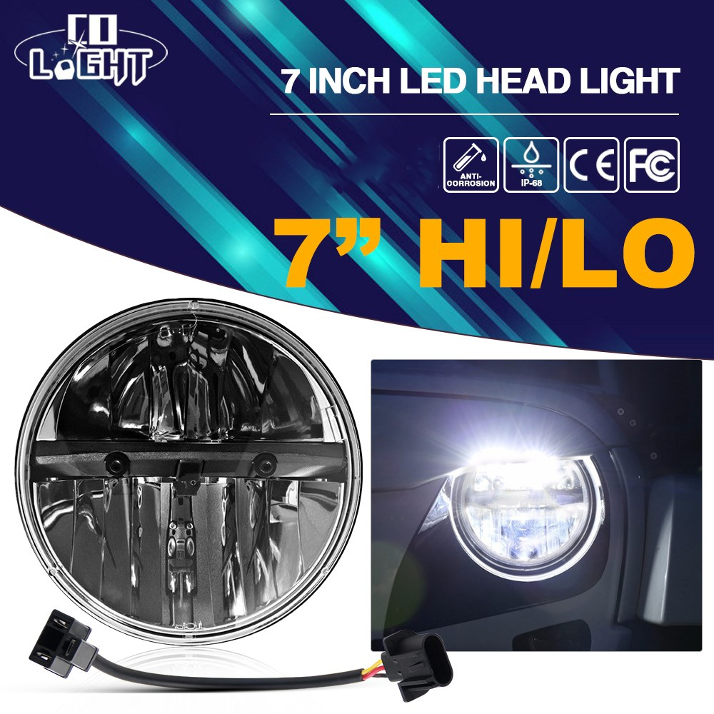 CO LIGHT 7 Inch Led Headlight 12V 80W Offroad for Jeep Lada Harley Projector Daymaker Motorcycle Car Styling Auto Driving Light harley motorcycle 7 inch orange motorcycle headlight 4 5 fog daymaker hid led light bulb headlight for harley davidson
