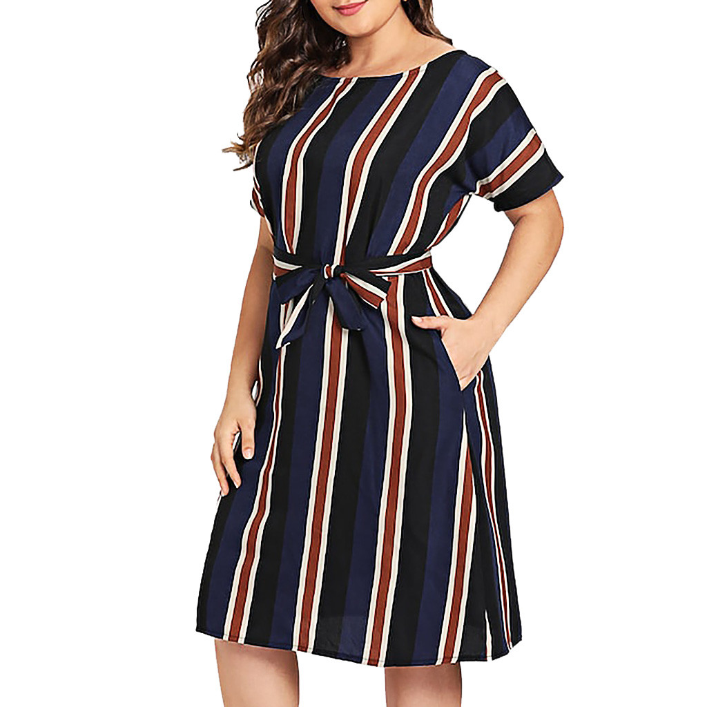 New Style Party Dress hot sales Fashion Womens O Neck Stripe Short Sleeve Plus Size