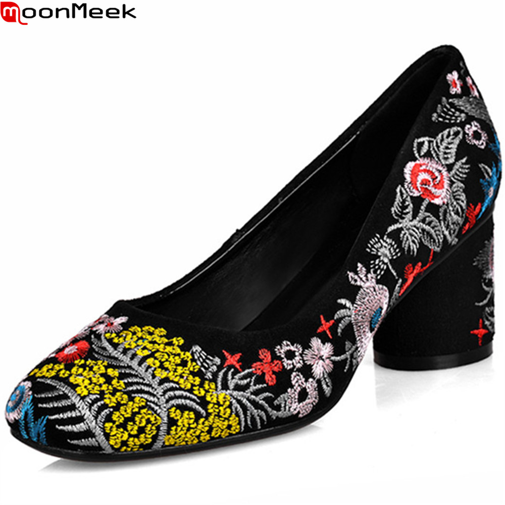 MoonMeek 2018 hot sale new arrive women pumps square toe shallow spring autumn ladies shoes embroider high heels shoes moonmeek fashion hot sale new arrive spring autumn women shoes sexy thick high heels pointed toe lace up ankle boots square heel