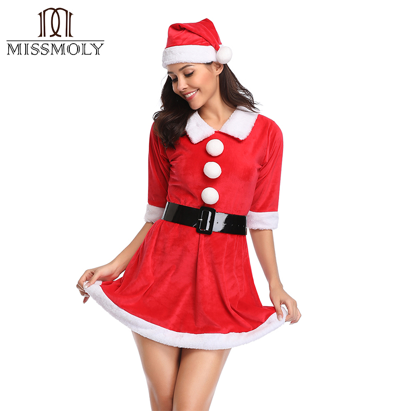 Miss Moly 2018 New Women Sexy Christmas Costume   Corset   Dress Sexy Lingerie Santa Dresses Paty   Bustiers   and   Corset
