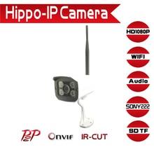 Hd de 2.0mp wifi cámara ip audio tarjeta sd sony imx222 1920*1080 P Impermeable Al Aire Libre de La Visión Nocturna P2P Remoto Inalámbrico Cámara CCTV IR