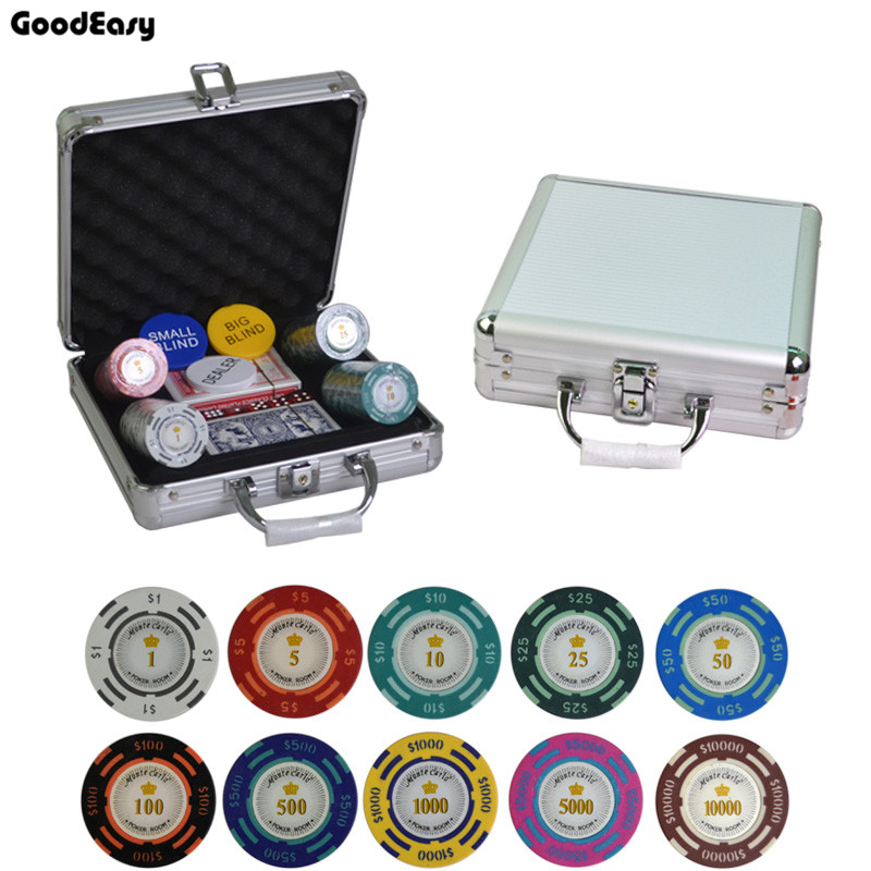 100,200,300,400,500PCS/Set New Casino Texas Holdem Clay Dollar Poker Chips With Trim Sticker Poker Chip Set with Aluminum Box