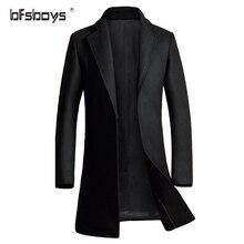 Зима 2016 высокое качество мужчины средней длины шерстяное Пальто однобортный Развивать нравственность бренд пальто M-3XL 1722