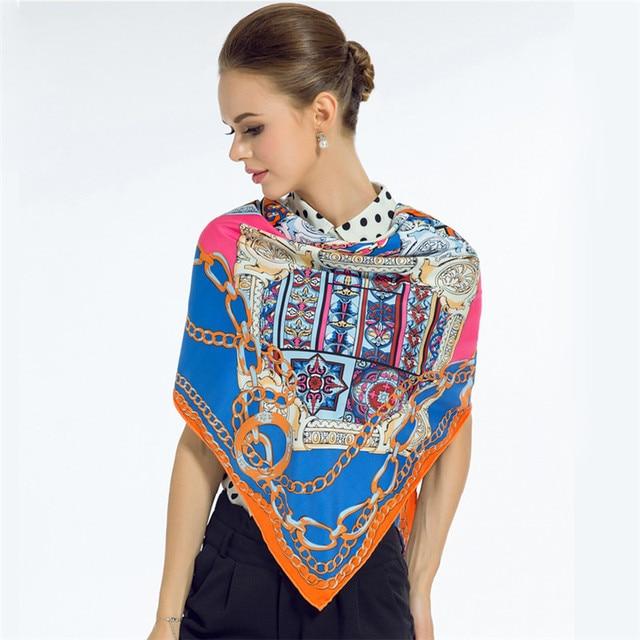 130*130 см 2017 мода женщин шелковый шарф бренд металлическая цепь щит большой площади платок высокое качество шелковой саржи пашмины шаль