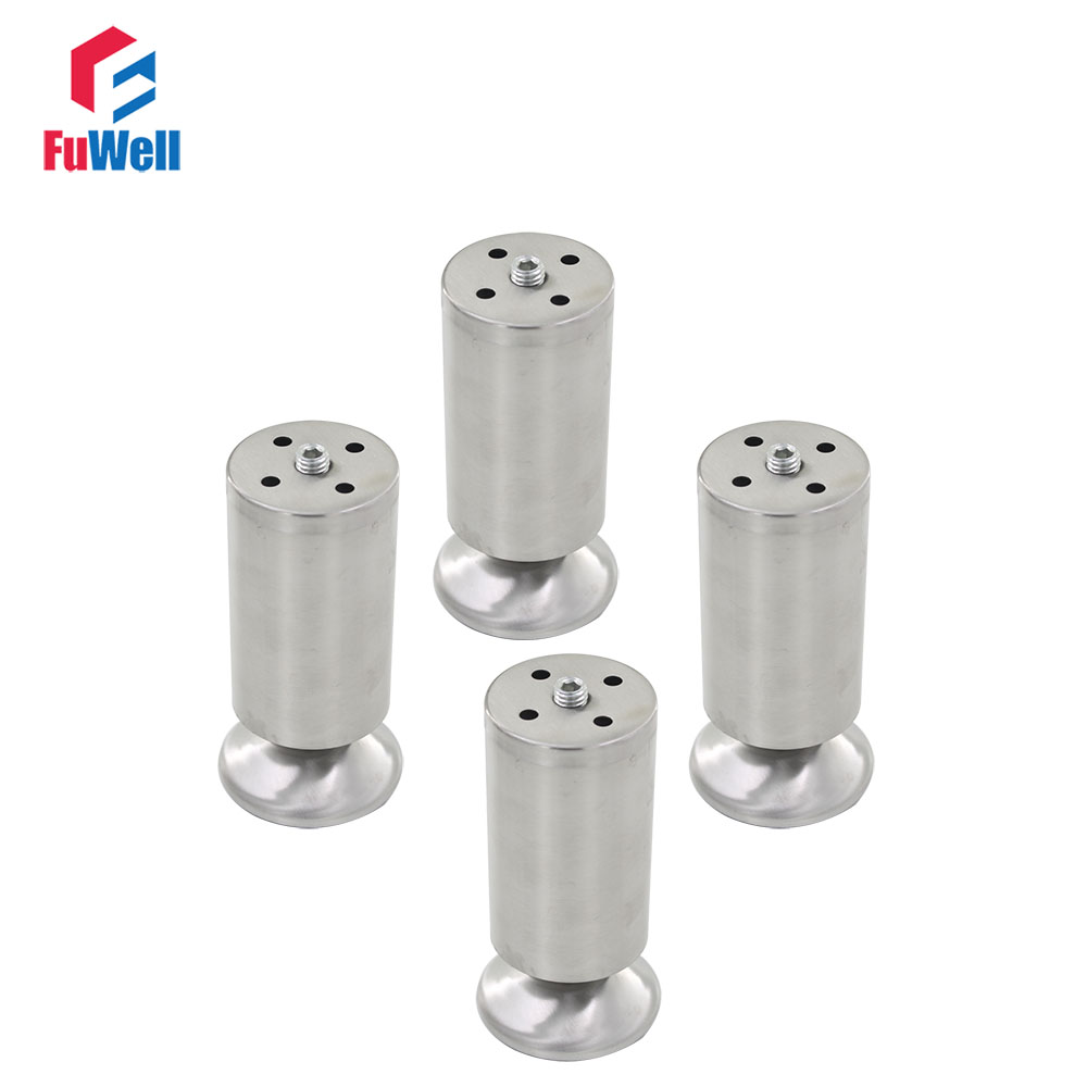 4pcs 120mm Height Furniture Legs Adjustable 10-15mm Cabinet Feet Silver Tone Stainless Steel Leveling Feet for Table Bed Sofa bqlzr 80x85mm round silver black adjustable stainless steel plastic furniture legs sofa bed cupboard cabinet table bench feet