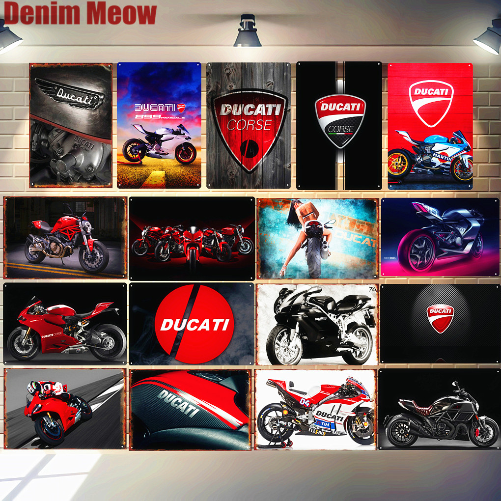 Ducati Corse Plaque Vintage Metal Tin Sign Pub Bar Garage Decorative Plate Motorcylce Iron Painting Motor Wall Art Stickers N280(China)