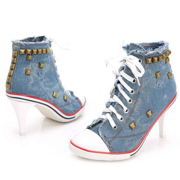 ФОТО 2015 New Arrival Spring Autumn Women Thin High Heel Jeans Rivets Lace Up Fashion Sexy Denim Canvas Shoes Size 34-40 SXQ0702
