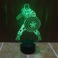 Kleurrijke 3D Captain America USB LED Nachtlampje Touch Schakelaar Nachtlampje Home Decor Creatieve Sfeer Slaapkamer Acryl Bureaulamp