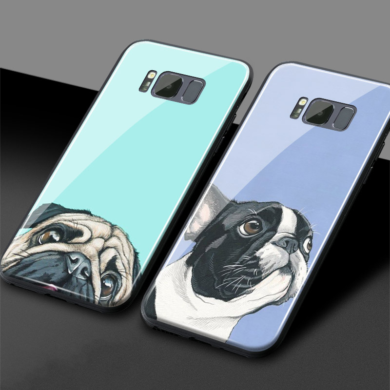 <font><b>Cute</b></font> Pug French bulldog Glass Soft Silicone <font><b>Phone</b></font> <font><b>Case</b></font> Shell Cover For <font><b>Samsung</b></font> Galaxy S7 Edge S8 <font><b>S9</b></font> S10 e Plus Note 8 9 10 Plus image