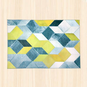 Modern geometric 3d area rug for kitchen for bedroom for living room floor rug nordic abstract yellow grey cubes carpet doormat