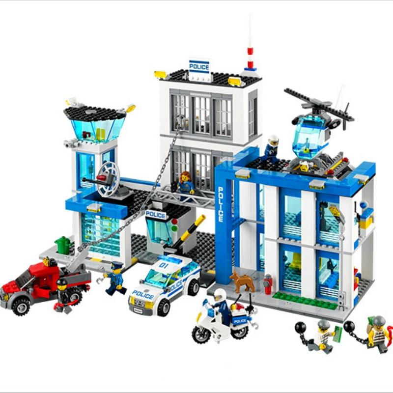 Bela 10424 Station de Police de la ville moto hélicoptère modèle briques de construction Kits compatibles avec Legoe City 60047 - 2