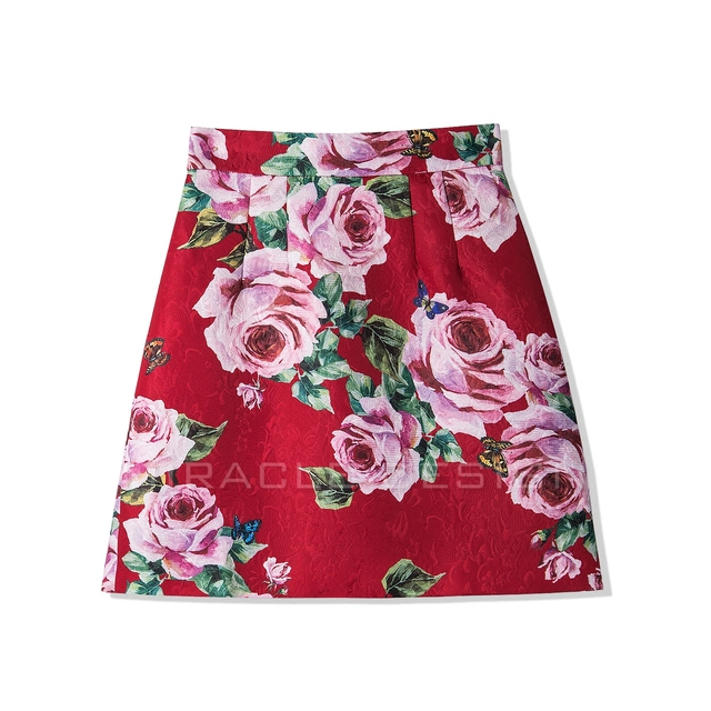 New European 2018 spring gorgeous roses printed on dark jacquard weaving  fabrics of tall waist A pendulum skirts-in Skirts from Women's Clothing &