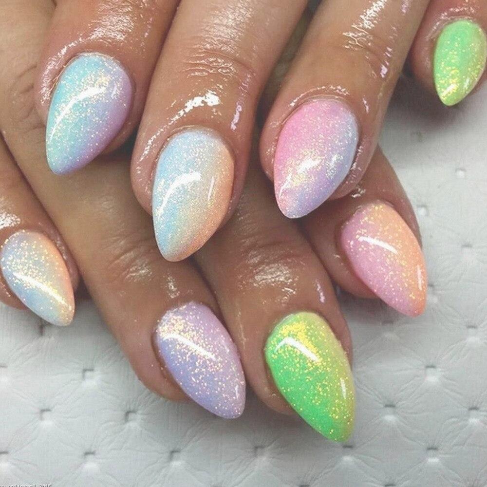 Gel UV Clavos arte sirena efecto Brillos de uñas polaco sparkly ...