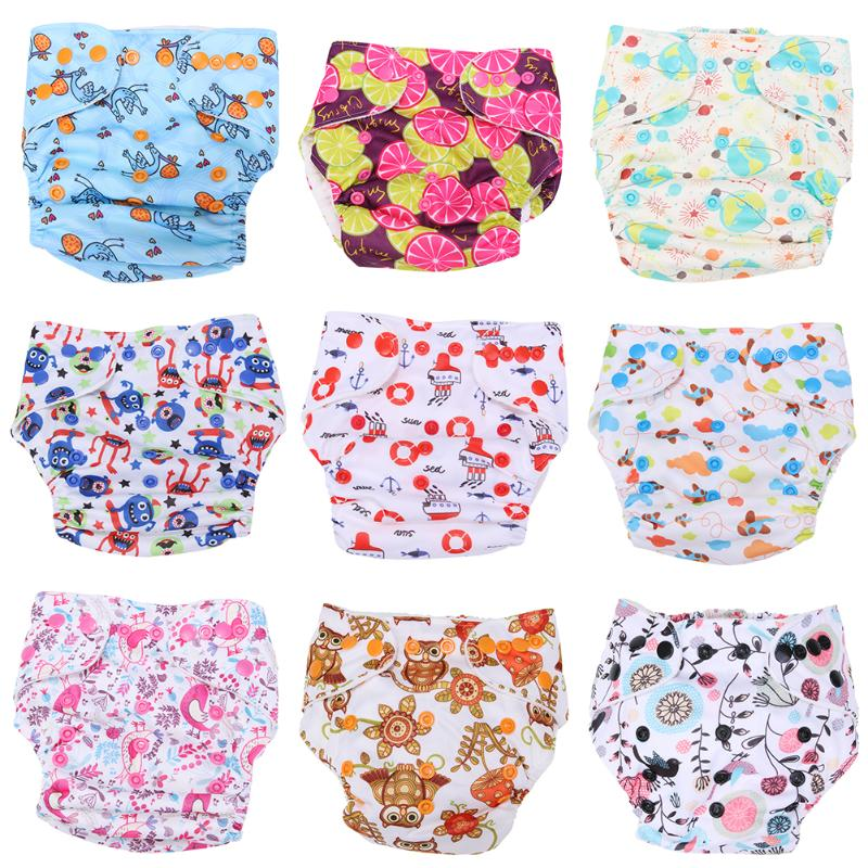 Reusable Baby Diaper Cover One Size Adjustable Cartoon Infant Cloth Diapers Cover Washable Nappy Changing Cover Baby Underpants