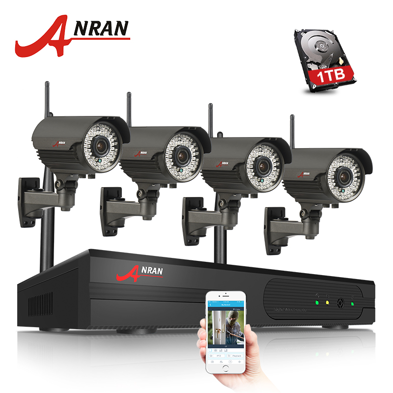 ANRAN 1080P 4CH WIFI NVR HDMI Network Waterproof Outdoor 78 IR D/N Wireless IP Camera 2.8-12mm Zoom lens Security System 2TB HDD