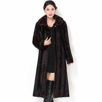 Harajuku Plus size 5XL Faux Mink Fur Coat Women Winter Thicken Warm Jackets Female Loose Fur Outerwear X-Long Basic Coats G264