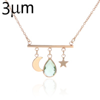 3UM Bar Necklace Personalized Glass Birthstone Gem Bezel Moon And Star Pendant Necklace For Women Custom