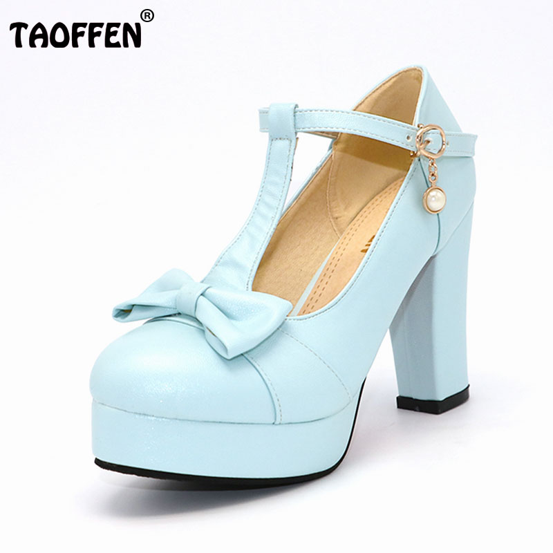 TAOFFEN Women High Heeled Shoes Women Squared Heels Pumps Platform Bowtie Bowknot Shoes Buckle Party Sexy