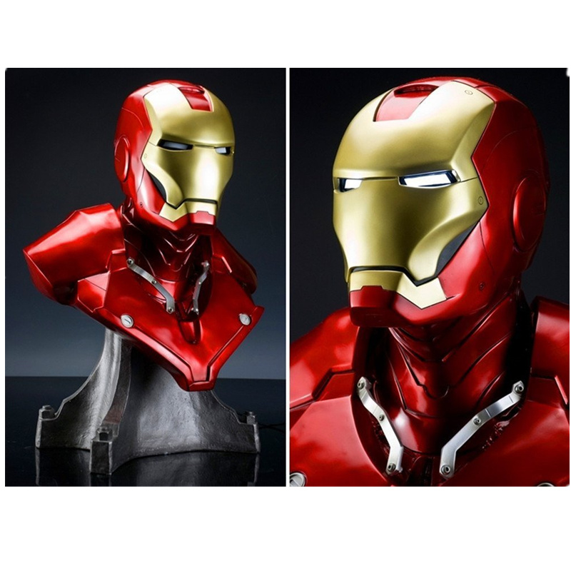 1/1 Scale Iron Man Sideshow MK3 Tony Strak (LIFE SIZE) 1:1 BIG Statue Resin BUST With Led Eye H 55cm high quality 1 1 scale terminator t800 t2 skull endoskeleton lift size bust figure resin replica led eye
