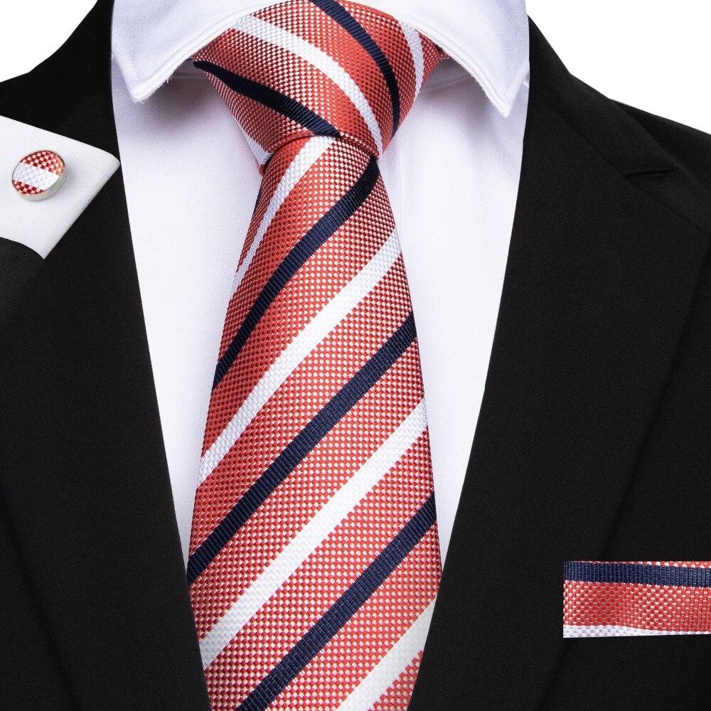 SJT-7099 DiBanGu Fashion Peach Red Blue Striped Men's Tie 100% Silk Tie Business Wedding Party Tie Set Hanky Cufflinks Ties