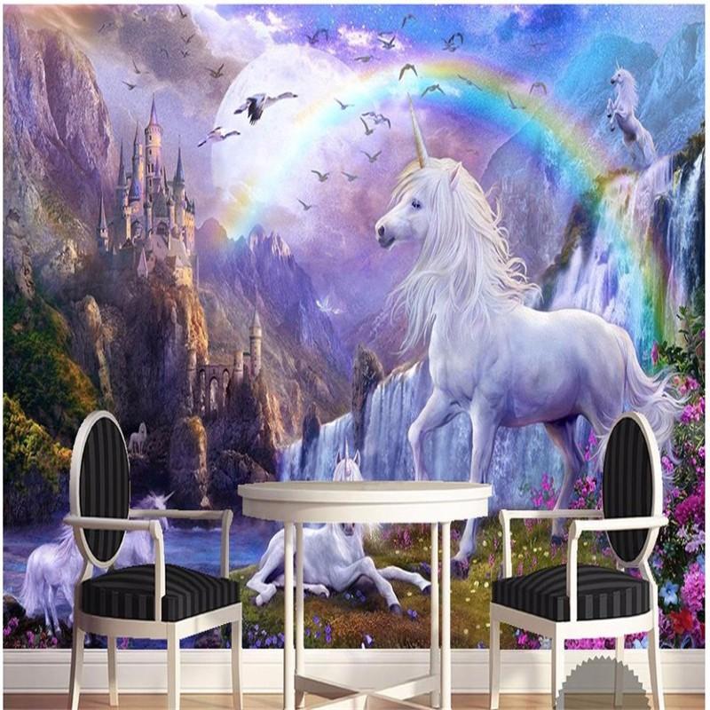 Custom-3d-photo-wallpaper-3d-wall-mural-wallpaper-Blue-sky-rainbow-waterfall-white-horse-animal-landscape (2)