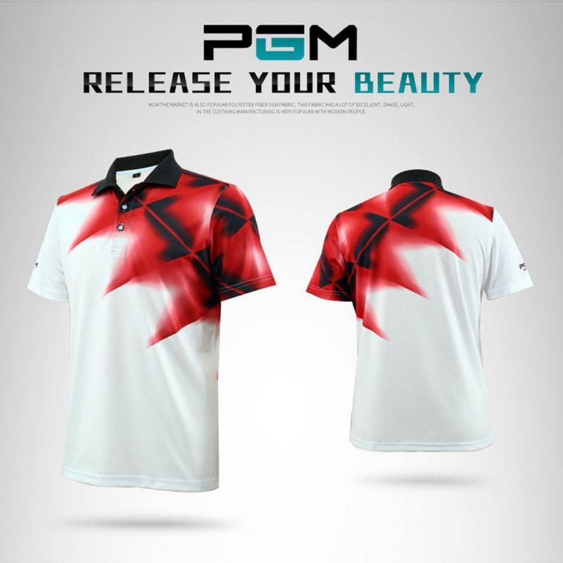 PGM Mens Golf Shirt Apparel summer Short Sleeve Quick dry T-shirt High-quality Sunscreen Elastic Breathable men Golf Polo Shirt