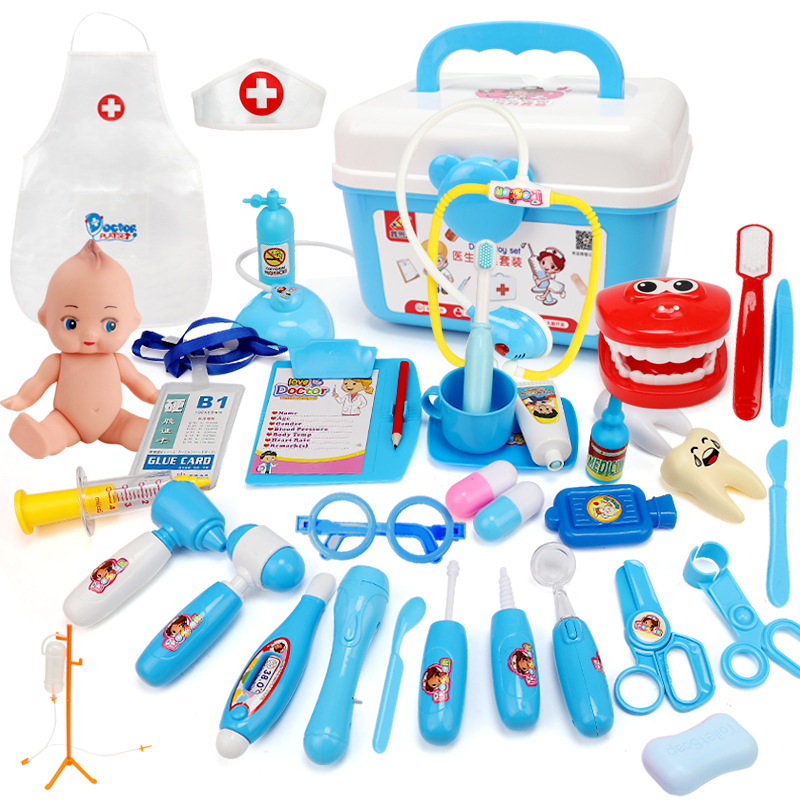 21-39PCS Children Pretend Play Doctor Nurse Toy Set Portable Suitcase Simulation Medical Kit Kids Educational Role Play Toys
