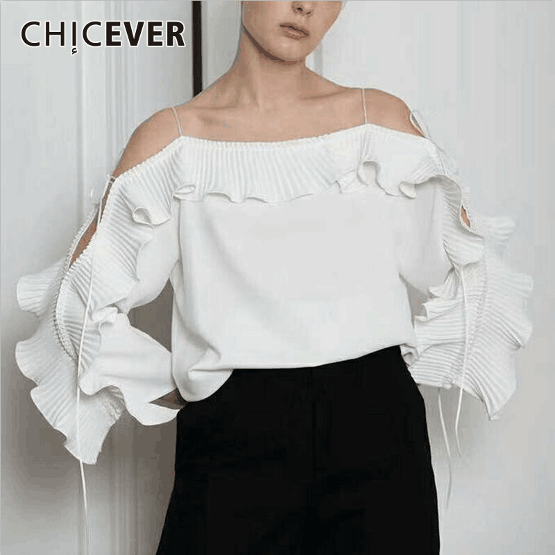 CHICEVER Sexy Off Shoulder Female T shirts For Women Top Ruffles Slash Neck Bandage Summer Black Tshirt Clothes Fashion New