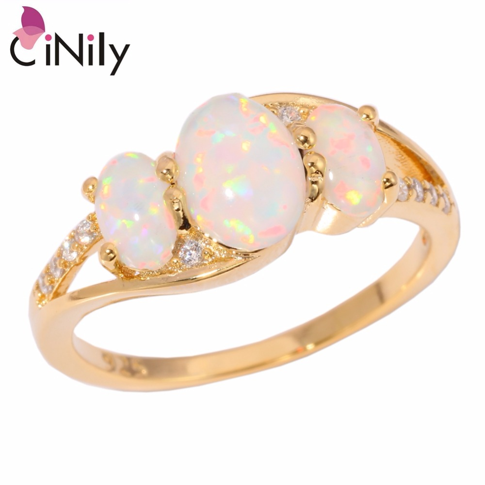 CiNily Created White Fire Opal Cubic Zirconia Yellow Gold Color Wholesale New Style for Women Jewelry Ring Size 7 8 9 OJ9179