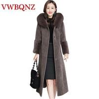 Зимняя женская теплая Толстая Меховая куртка с капюшоном, пальто высокого класса, Брендовое Свободное длинное пальто, пальто большого разм...