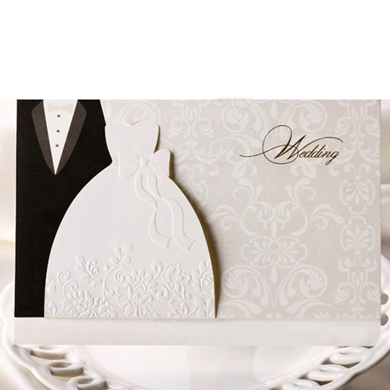 HOT 50pcs Laser Cut Western-style Groom & Bride Clothes Wedding Invitations Cards Customizable Printable Wedding Party SupplIes (2)
