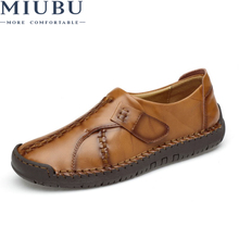 MIUBU Men Leather Shoes Fashion Loafers Casual Shoes Male Flats Slip On Leather Hand-sewn Moccasins Platform Sole Footwear Flats soft women shoes flats moccasins slip on loafers genuine leather ballet shoes fashion casual ladies shoes footwear