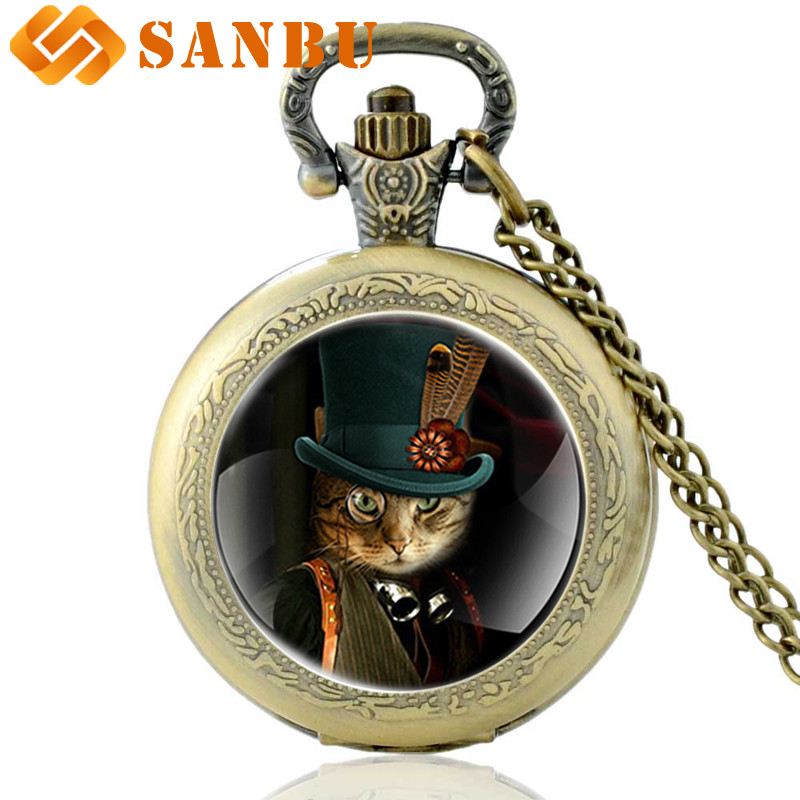 Antique Bronze Punk Cat Quartz Pocket Watch Vintage Men Women Steampunk Skeleton Pendant Necklace Antique Jewelry