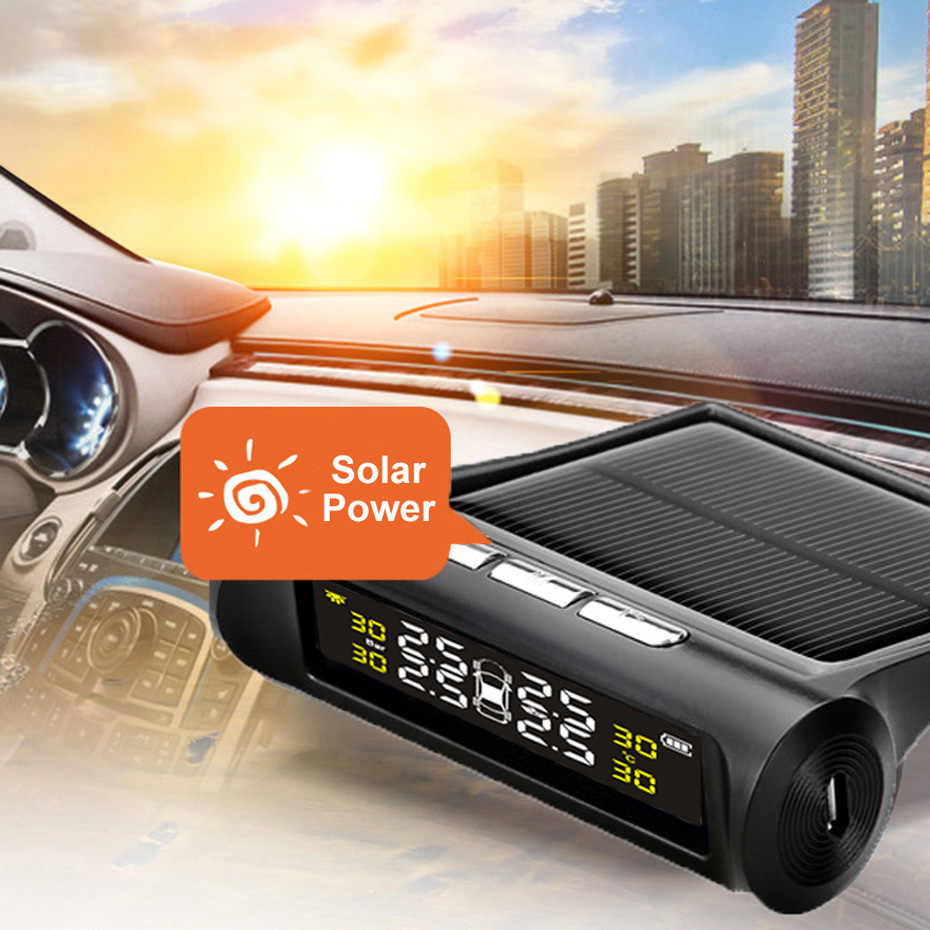 Exibição Do Sistema De Alarme Do Monitor de Pressão Dos Pneus TPMS Carro Solar 4 Interno/Externo Sensor de Aviso De Temperatura T01N T01W Visture