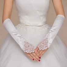 Модные дешевые белые перчатки для невесты до локтя, без пальцев Роскошные кружевные свадебные перчатки без пальцев Свадебные перчатки Свадебные аксессуары