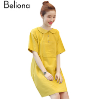 Preppy Style Maternity Mini Dress Summer Maternity Clothes For Pregnant Women 2017 Cotton Linen Pregnancy Clothing