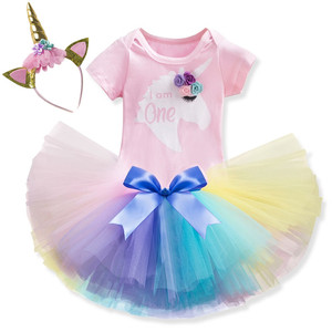 1 Year Girl Baby Birthday Dress Unicorn Party Tutu Dress Toddler Baby Girls Clothes First Birthday Outfits infantil vestidos(China)