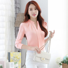 Temperament commuter long sleeve chiffon blouse sexy V-neck professional shirt solid color free shipping