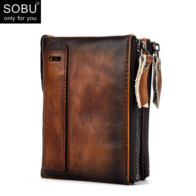 HOT Retro Genuine Cowhide Leather Men Wallet Short Coin Purse Small Vintage Wallets Brand High Quality Designer N091 gubintu genuine crazy horse leather men wallet short coin purse small vintage wallets brand high quality designer carteira