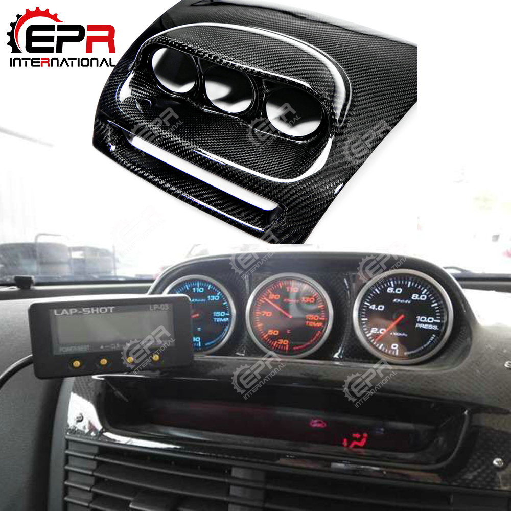 Car-styling For Mazda <font><b>RX8</b></font> Carbon Fiber Dash Mount Triple Gauge Pod RHD 60mm Glossy Finish Inner Dial Cover Trim Fibre Drift Part image