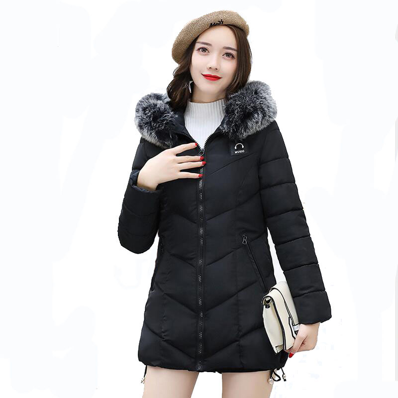 2017 Fashion Winter Jacket Coat Women Long Thicken Down Cotton-padded Faux Big Fur Collar Warm Female Outwear Parkas Woman uwback 2016 new brand winter jacket women plus size 4xl faux fur collar down coat women black thicken padded parkas mujer tb1181