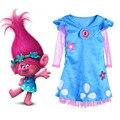 Дети Троллей Костюм Принцесса Мака Косплей Костюм Партии Fancy Dress Маленькие Феи Фея Костюмы Карнавальные Костюмы для Детей