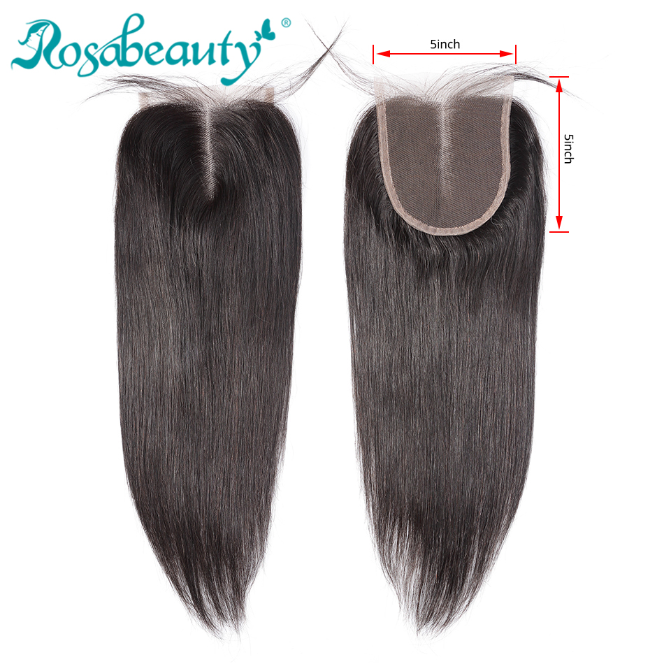 Rosabeauty Peruvian Virgin Straight Lace Closure 5X5 Human Hair Lace Closure Bleached Knots Middle/Free Part Top Closure