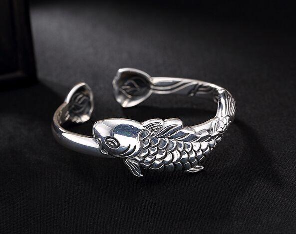 S999 лотоса, лотос Карп стерлингового серебра Ретро тайское серебро Стиль дамы браслет