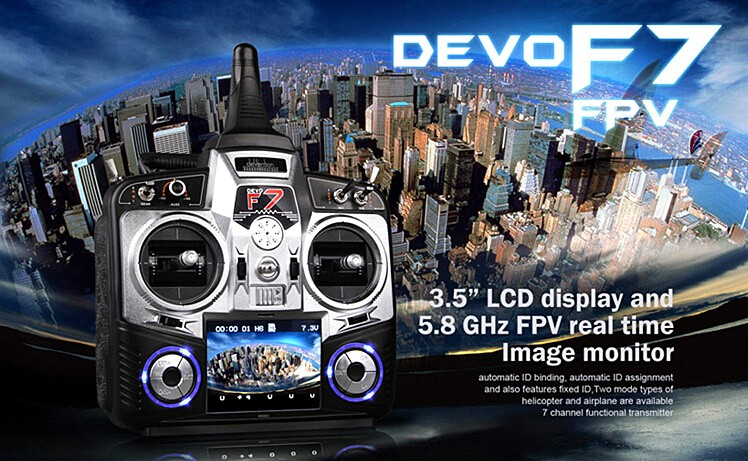 Walkera Devo F7 7 Channel LCD Display FPV Camera Transmitter Devo F7 + RX701 + 7.4V 800mah Battery + TX5803+ DV04 + FP converter