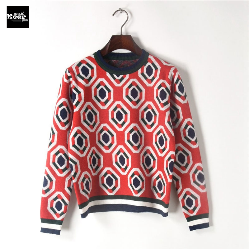 2018 Autumn Sweater Female Pullovers Color Block Striped Slim Geometric Knitted Sweaters Pullover Runway Designer Tops Jumper